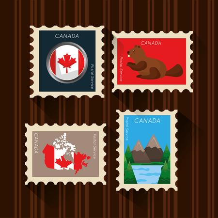 happy canada day set postage stamp symbols vector illustration Illustration