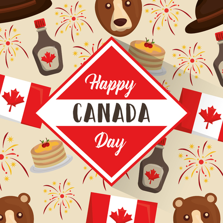 happy canada day label stuff canadian background vector illustration