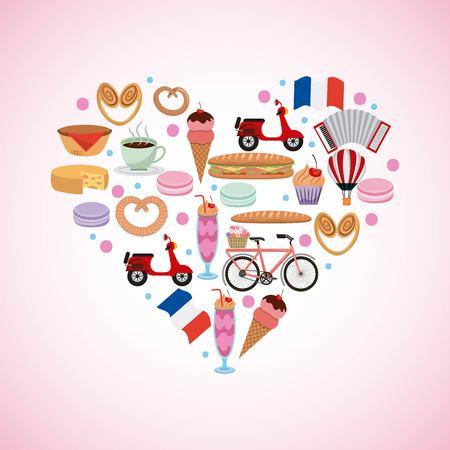 france paris card big heart with french food transport flag vector illustration