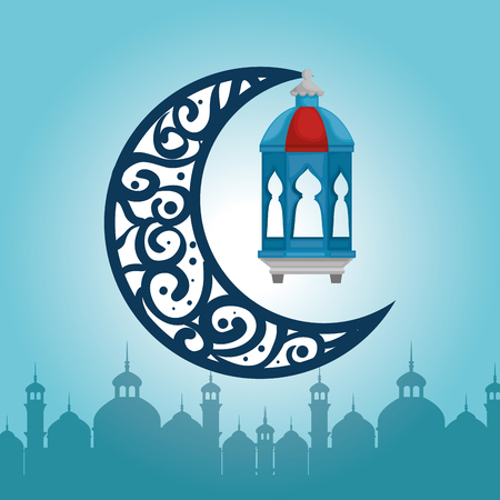 Ramadan kareem card with lanterns hanging vector illustration design.