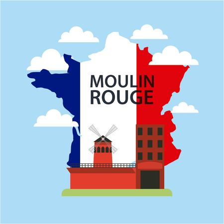 Happy Bastille day, France important museum behind map vector illustration. Illustration