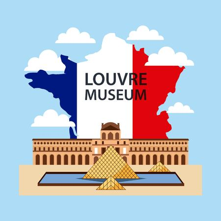 Happy Bastille day, France important museum behind map vector illustration. Çizim