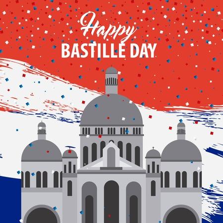 Happy Bastille day, France celebration revolution basilica sacred heart degrade background vector illustration.