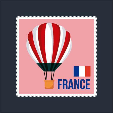 Happy Bastille day, France flag french postcard hot air balloon vector illustration.
