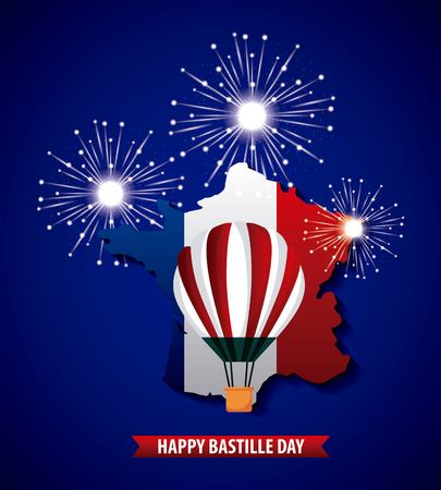 Happy Bastille day, France blue background fireworks hot air balloon french map vector illustration.