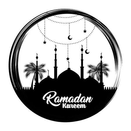 Ramadan kareem card with temple building vector illustration design.