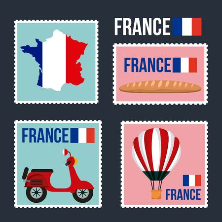 Happy Bastille day, France collage of map french bread motorcycle hot air balloon vector illustration. Illustration