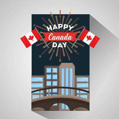 happy canada day card montreal city flags fireworks vector illustration Illustration