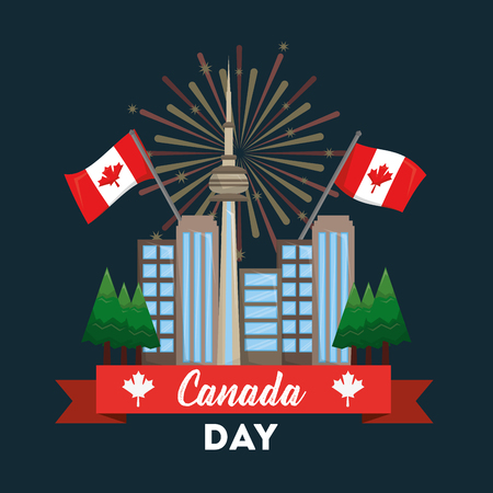 happy canada day card toronto city flags fireworks vector illustration