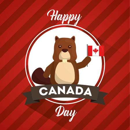 happy canada day greeting card beaver animal symbol vector illustration