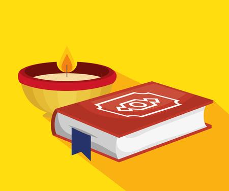 ramadan kareem card with sacred book vector illustration design