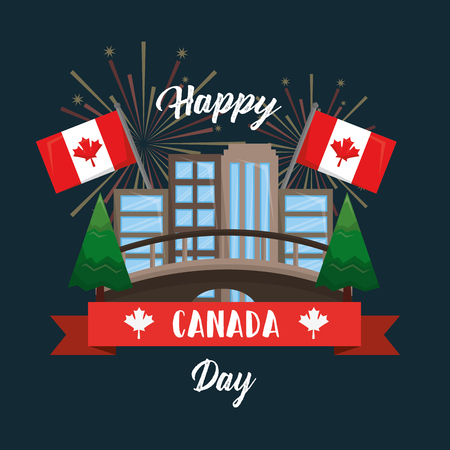 happy canada day card toronto city pines flags fireworks vector illustration