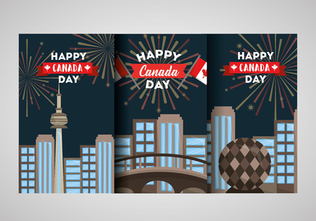 happy canada day banner cities emblem national vector illustration