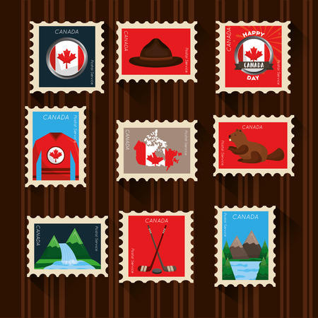happy canada day set postage stamp symbols vector illustration Illustration