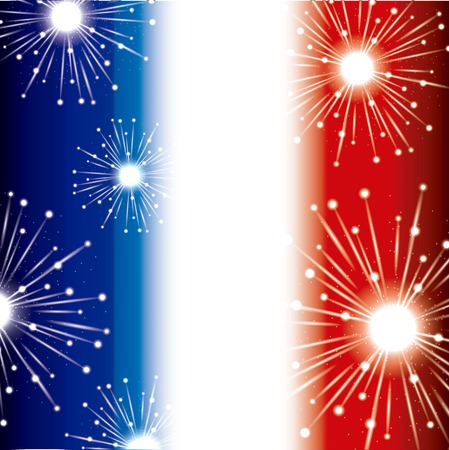 happy bastille day france background map french fireworks importante fest vector illustration Standard-Bild - 100063194