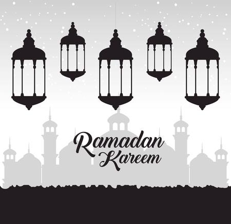 Ramadan kareem card with lanterns hanging vector illustration design. Imagens - 100046238