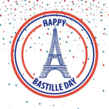 happy bastille day france important celebration glitters tower eiffel vector illustration
