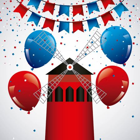 happy bastille day france with ballons glitters vector illustration Vector Illustration
