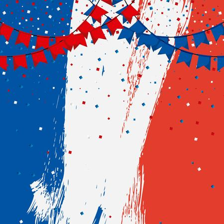 happy bastille day france worn out background fireworks colors flag french vector illustration