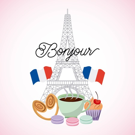 france paris card tower eiffel two french flag cakes coffee food vector illustration