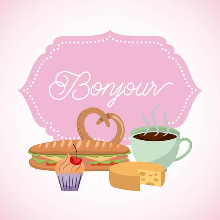 france paris card coffee pretzel sandwich cupcake bonjour vector illustration