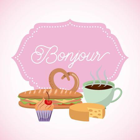 france paris card coffee pretzel sandwich cupcake bonjour vector illustration