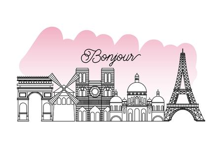 france paris card monuments french  notre dame tower eiffel vector illustration