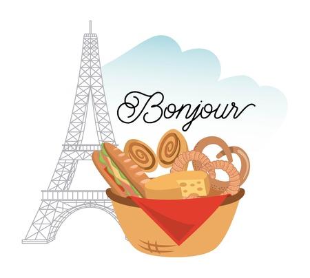 france paris card bonjour french tower eiffel basket pastry vector illustration