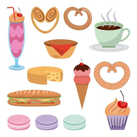 pastry dessert sweet ice cream pretzel basket cupcake coffee cakes and sandwich vector illustration Ilustracja
