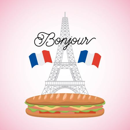france paris card tower eiffel with sandwich french flags bonjour vector illustration