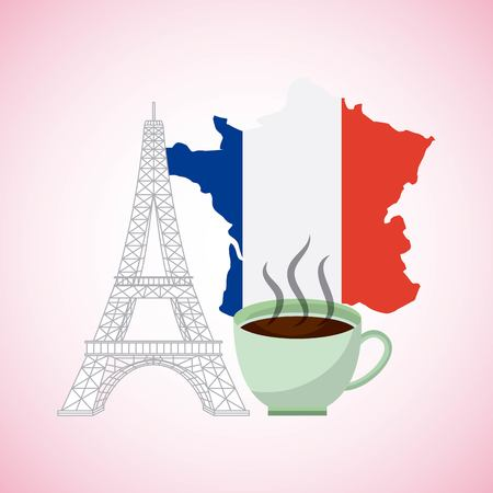 france paris card cup  coffee french flag tower eiffel white banner vector illustration