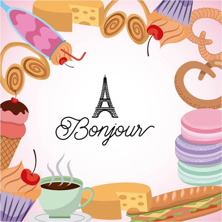 france paris card image with many food cakes ice scream sandwich vector illustration Ilustrace