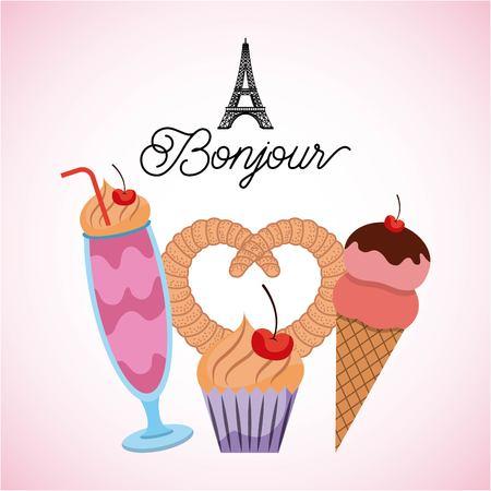 france paris card pretzel ice cream cupcake strawberry shake vector illustration Illustration