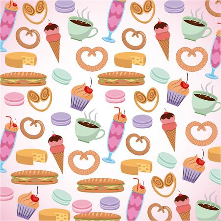 france paris card strawberry shake ice scream sandwich cakes food vector illustration Ilustracja