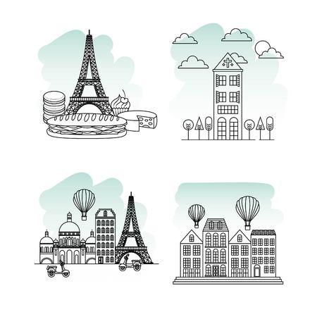france paris card beatiful monuments french landmark vector illustration