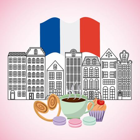 france paris card buildings with french flag cup coffee cakes vector illustration Standard-Bild - 100069259