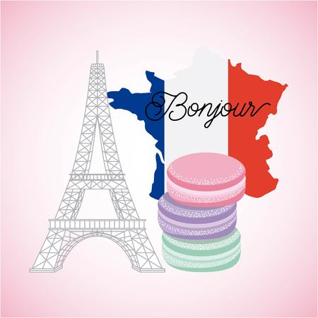france paris card tower eiffel bonjour french flag map cakes vector illustration Ilustracja