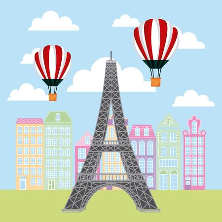france paris card buildings hot air balloons flying tower eiffel vector illustration Illustration