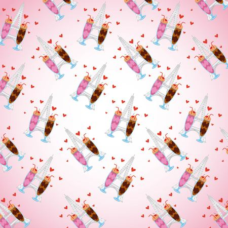 pattern chocolate ice cream strawberry shakes with red hearts vector illustration Illusztráció