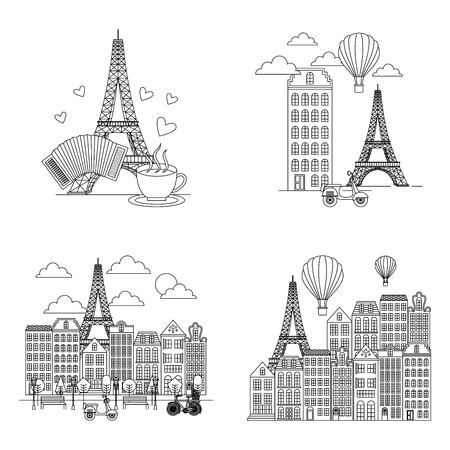 france paris card tower eiffel with buitls clouds motorcycles hot air balloon vector illustration