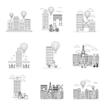france paris pattern monuments buildings in paris hot air balloons motorcycle vector illustration