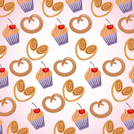 background sweet pastry pretzel cupcakes vector illustration Illustration