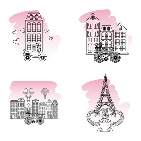 france paris paris places cup coffee tower eiffel buildings motorcyle vector illustration
