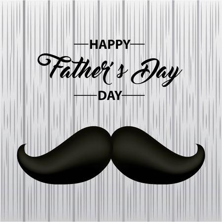 celebration fathers day happy fest dad big black mustache vector illustration