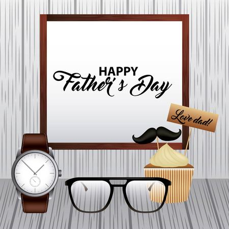 celebration fathers day coffee board glasses cupcake stick mustache wristwatch wooden background vector illustration Vectores