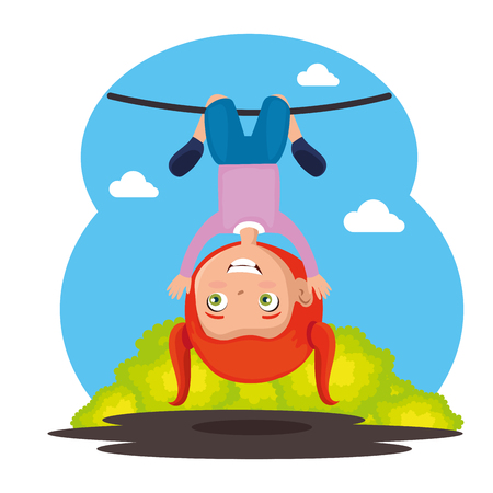 Little girl happy on rope illustration