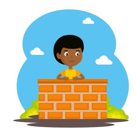 Little boy on chimney illustration