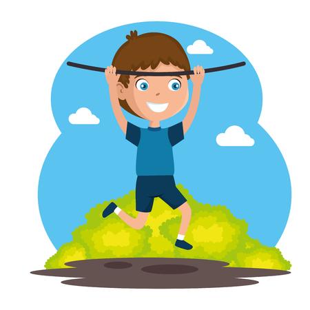 Little boy happy on rope illustration
