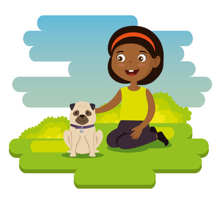 Little girl happy with dog illustration