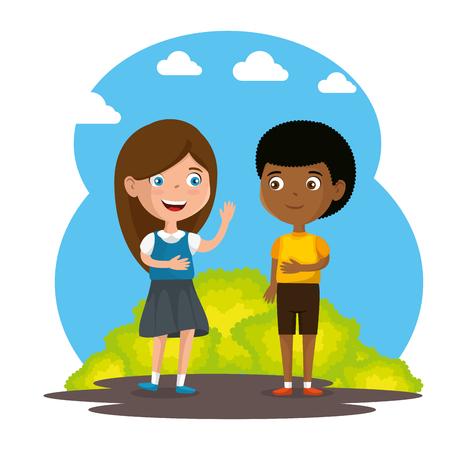 happy kids couple characters vector illustration design Imagens - 100033511